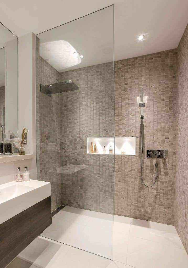 Scales of Grey bathroom shower tile accent