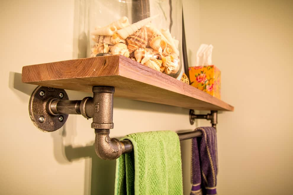 Wooden Slab Bathroom Shelf with Industrial Piping