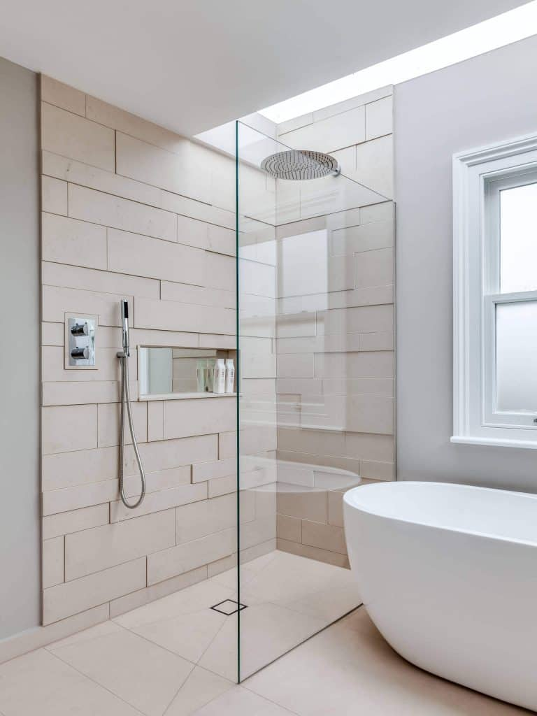 Shifting Planks shower tile