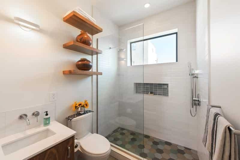 Wooden Block Bathroom Shelf Ideas