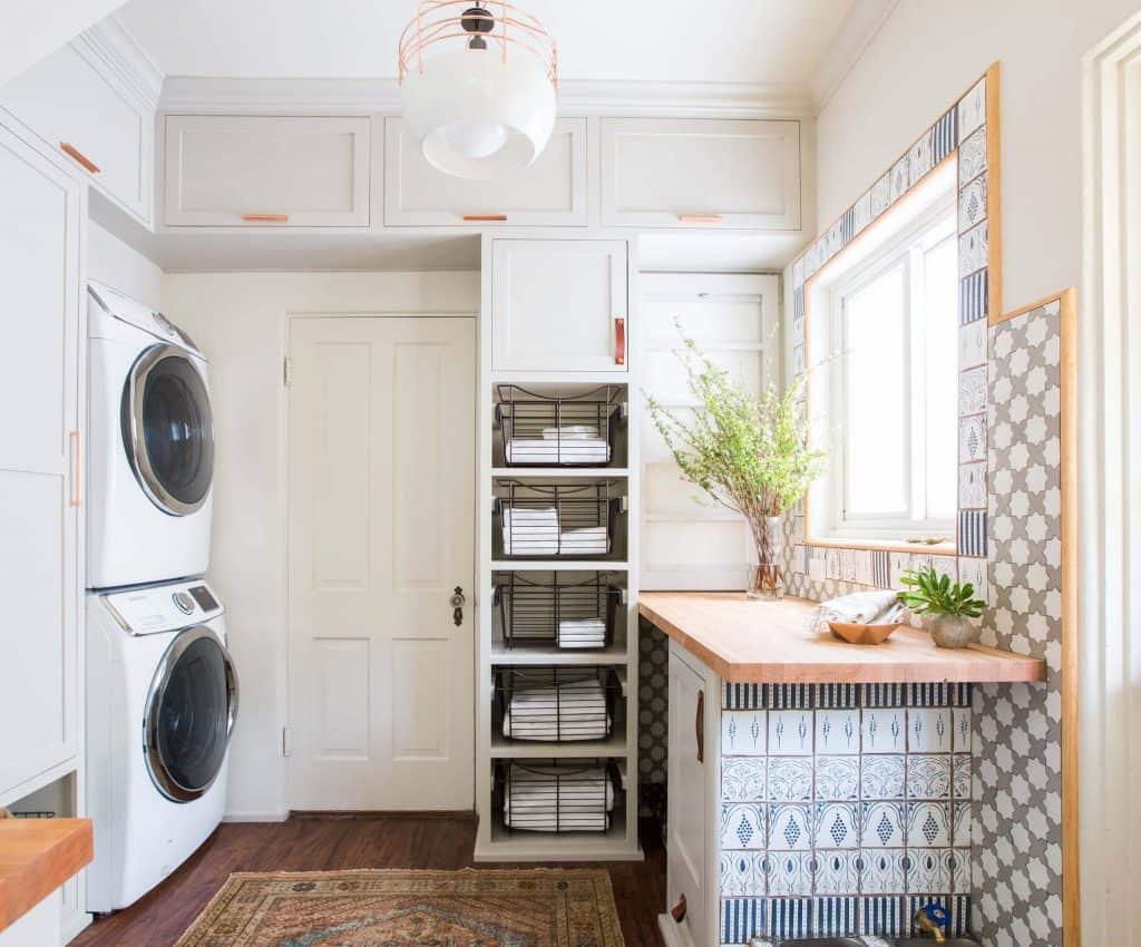 A Tall Shelf Holding Many Towels