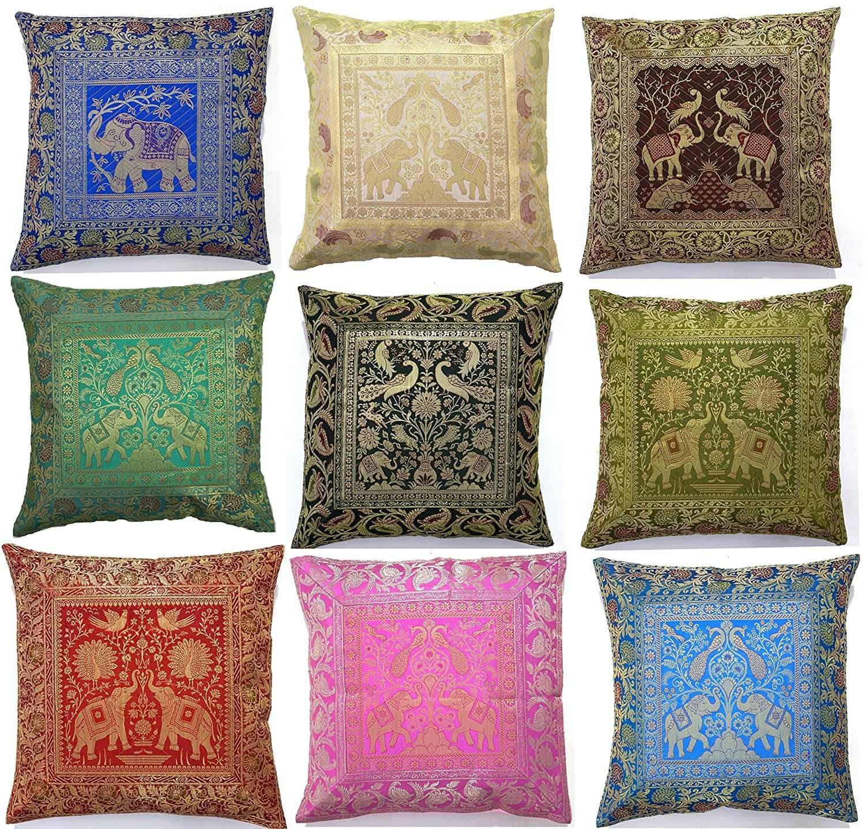 10 Pc Lot Square Silk Home Decor Cushion Cover, Indian Silk Brocade Pillow Cover , Handmade Banarsi Pillow Cover 16 X 16 Inch