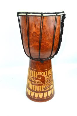 12 DJEMBE DRUM BONGO HAND CARVED AFRICAN DRAGON WILD DESIGN