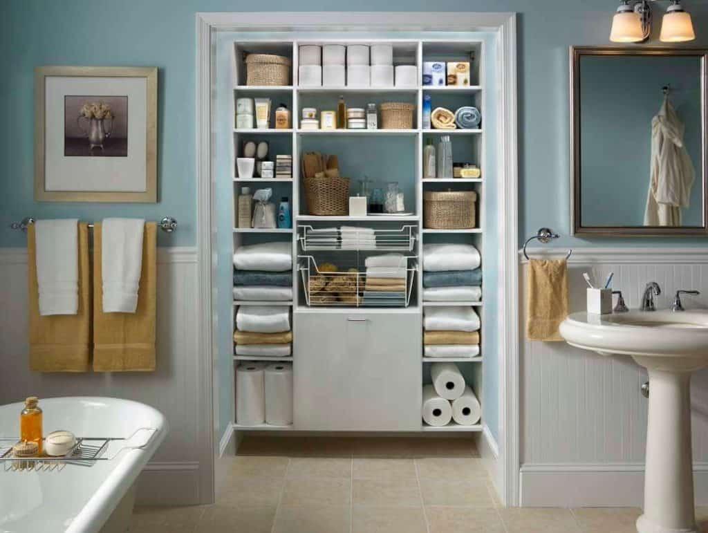 Multiple Shelf Use for Storing Towels.