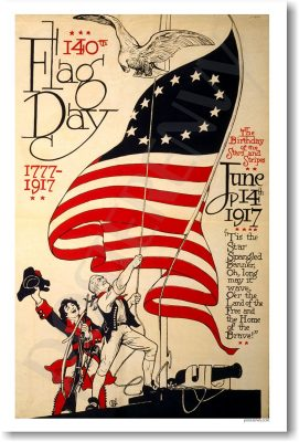 140th Flag Day 1777 - 1917 - Vintage Artwork Reprint Poster