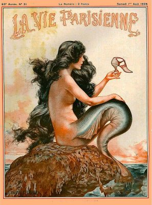1920's La Vie Parisienne Mermaid French Nouveau Paris France Europe European Travel Advertisement Art Poster