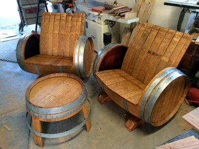 2 Wine Barrel Chairs & 1 Table
