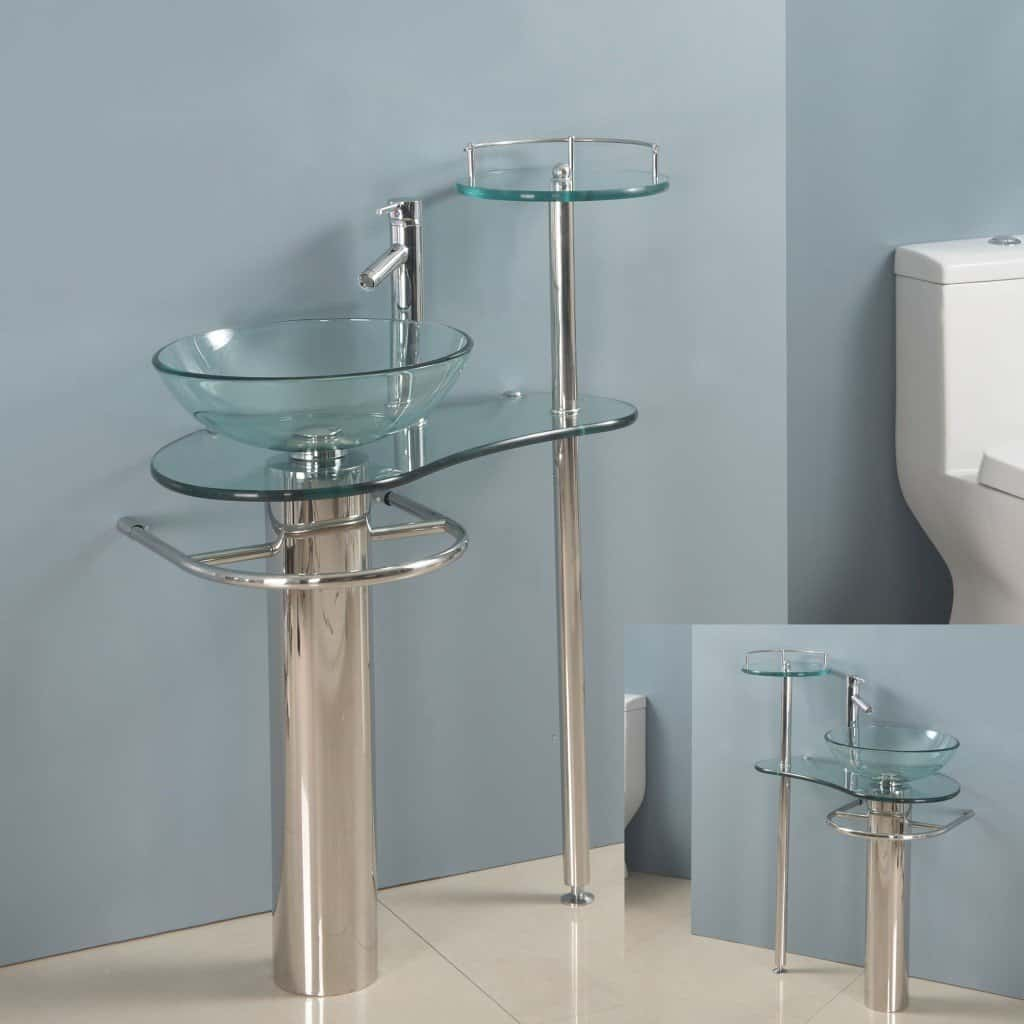Bathroom sink and vanity combo - 28 Inch Bathroom Vanities Pedestal Glass Sink Euro Design Bath Furniture Combo