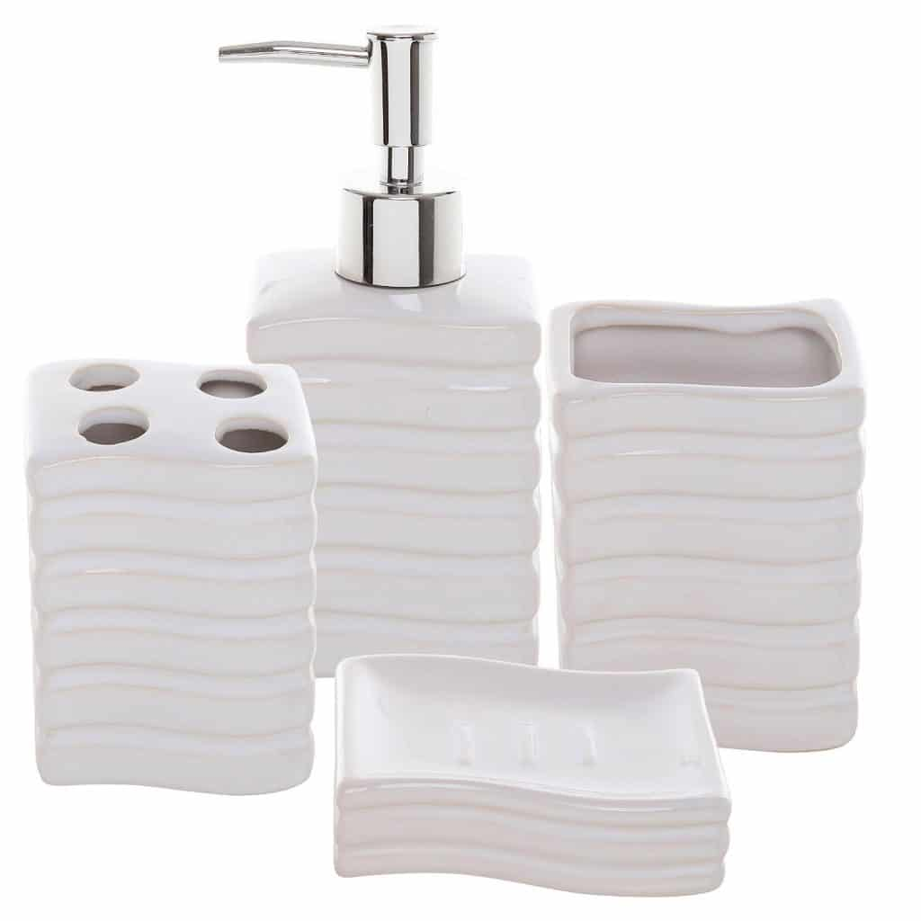 4 Pc Ribbed White Ceramic Bath Accessory Set Toothbrush Holder, Tumbler, Lotion Dispenser & Soap Dish