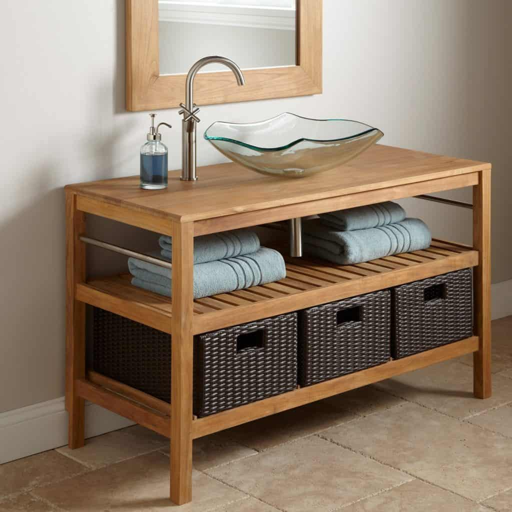 48  Jolon Teak Console Vessel Sink Vanity & 200+ Bathroom Ideas (Remodel u0026 Decor Pictures)