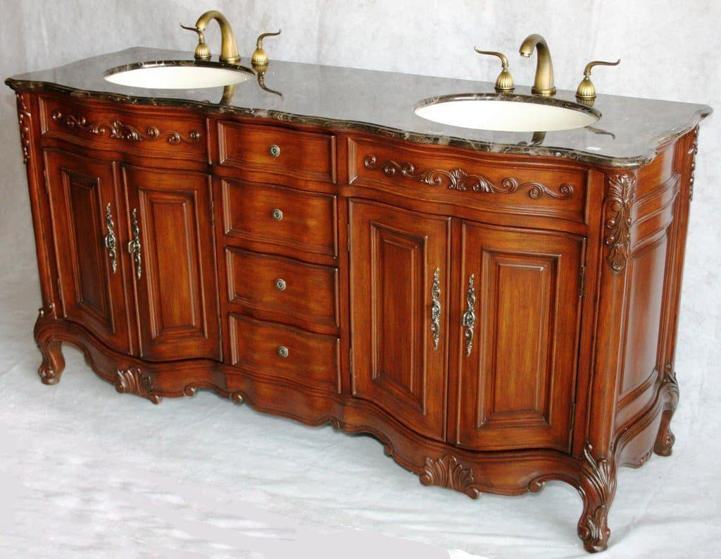 Asian bathroom vanity cabinets - 68 Inch Antique Style Double Sink Bathroom Vanity Model 2241 Mxc