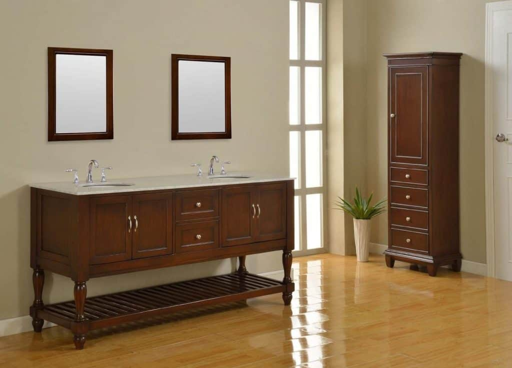 70 Inch Double Sink Bathroom Vanity Cabinet in an Espresso Finish and a Carrera White Marble Top