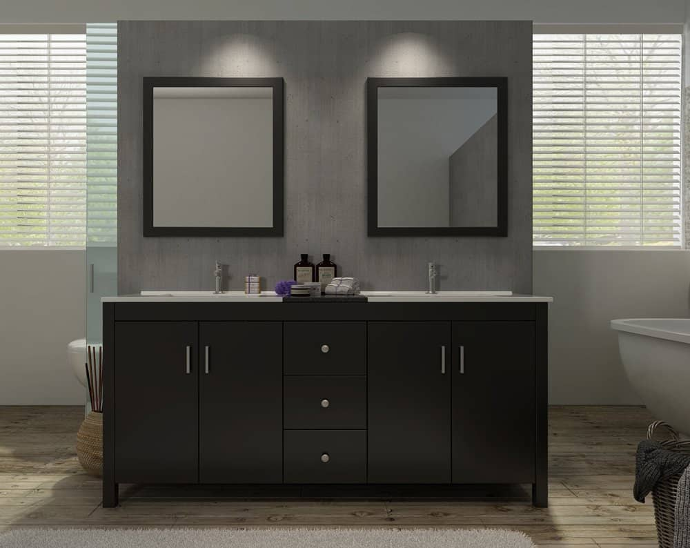 Double Sink Vanity Set In Espresso
