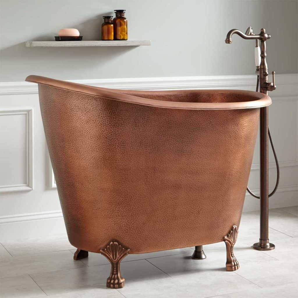 Abbey Copper Slipper Clawfoot Soaking Tub - No Overflow - Antique Copper