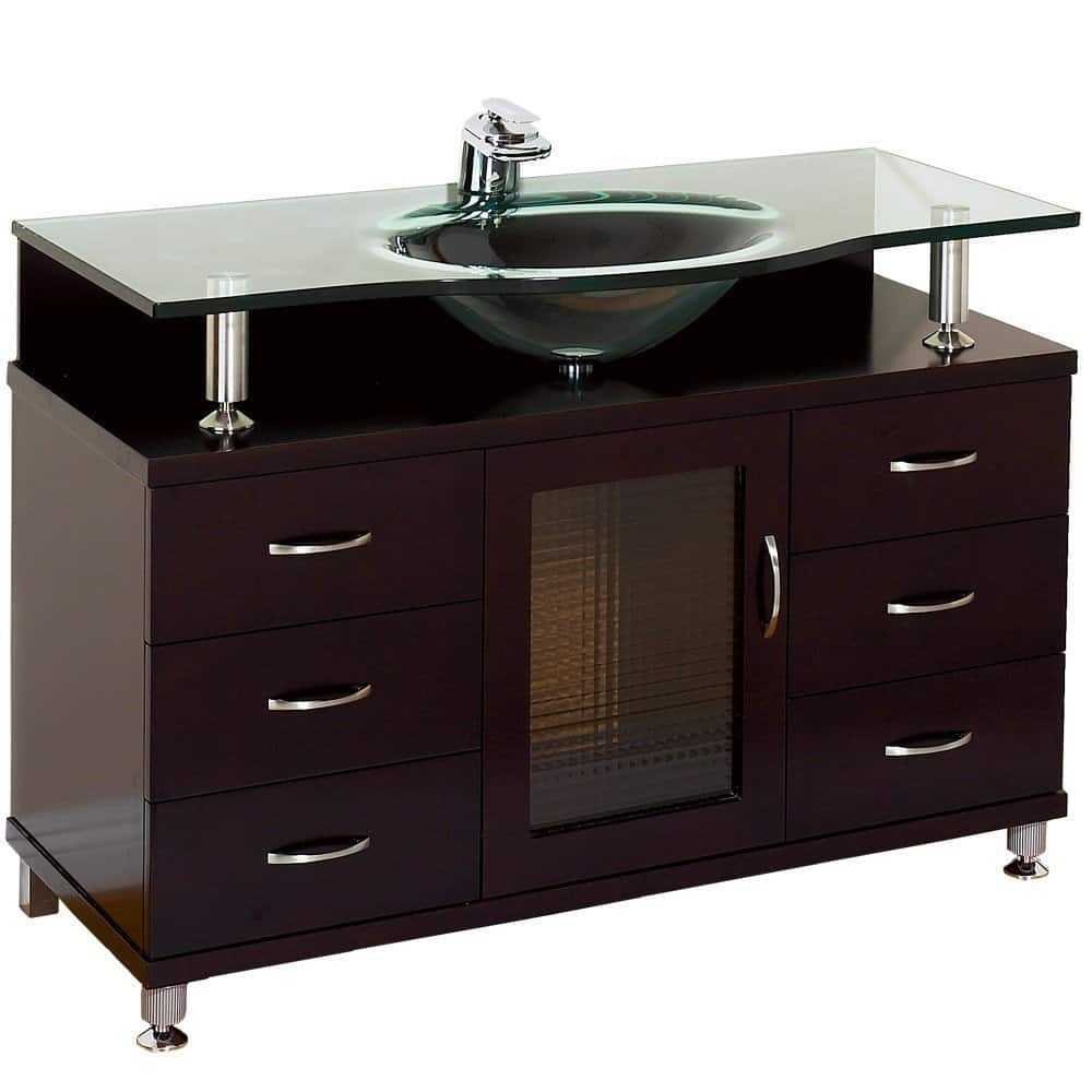 Superbe Accara 42 Bathroom Vanity   Espresso With Clear Glass Counter