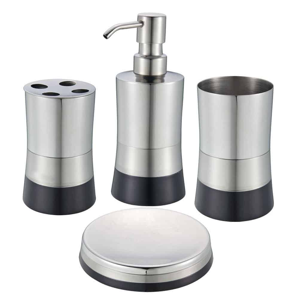 Blue Donuts 4 Piece Stainless Steel Bathroom Set - Black