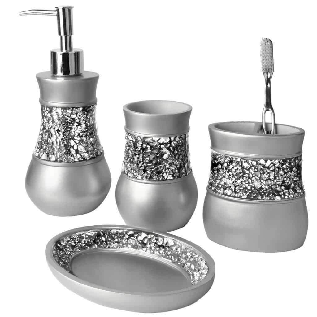 Brushed Nickel Bath Ensemble, 4 Piece Bathroom Accessories Set, Brushed Nickel Collection Bath Set Features Soap Dispenser, Toothbrush Holder, Tumbler, & Soap Dish- Silver Mosaic Glass
