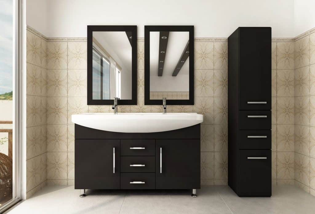 Celine Double Sink Modern Bathroom Vanity Furniture Cabinet