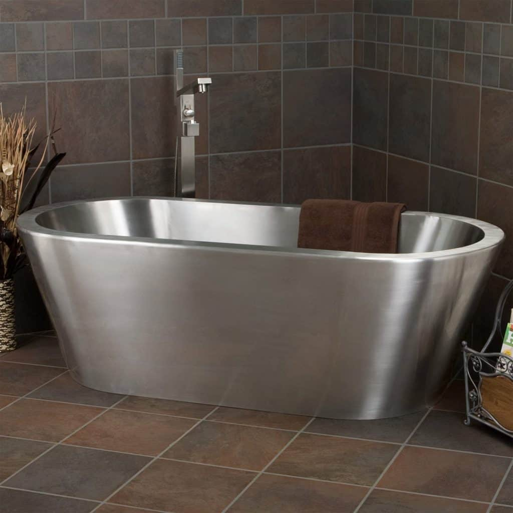 Collette Brushed Stainless Steel Freestanding Tub