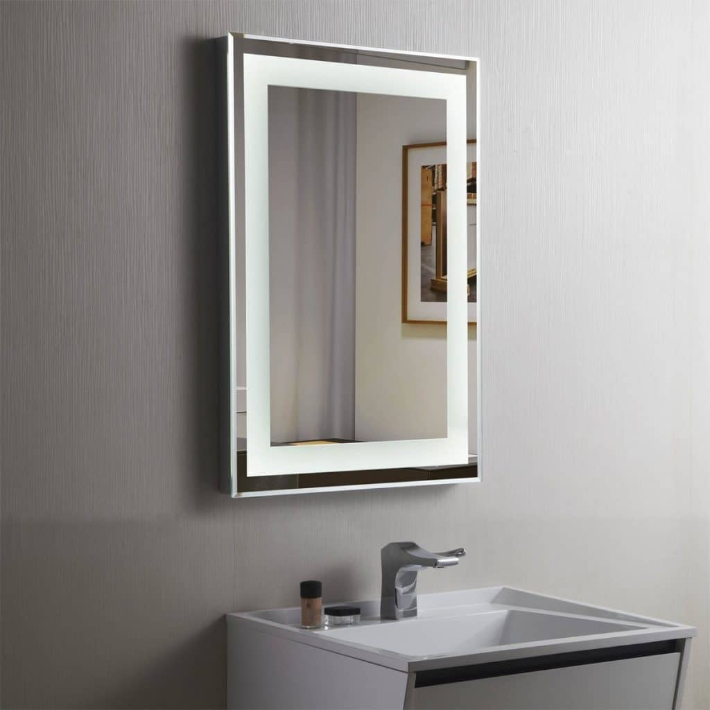decoraport vertical rectangle led bathroom mirror illuminated lighted vanity wall mounted mirror - Bathroom Ideas Mirrors