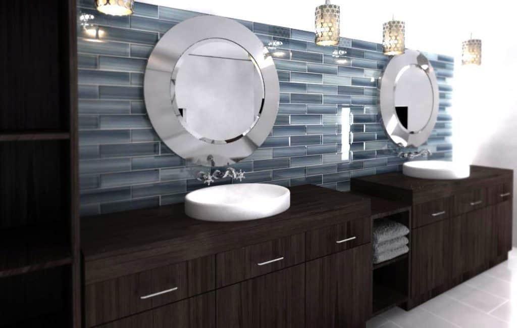 Deep Ocean Blue, Gentle Grey - 3x12 Glass Tile