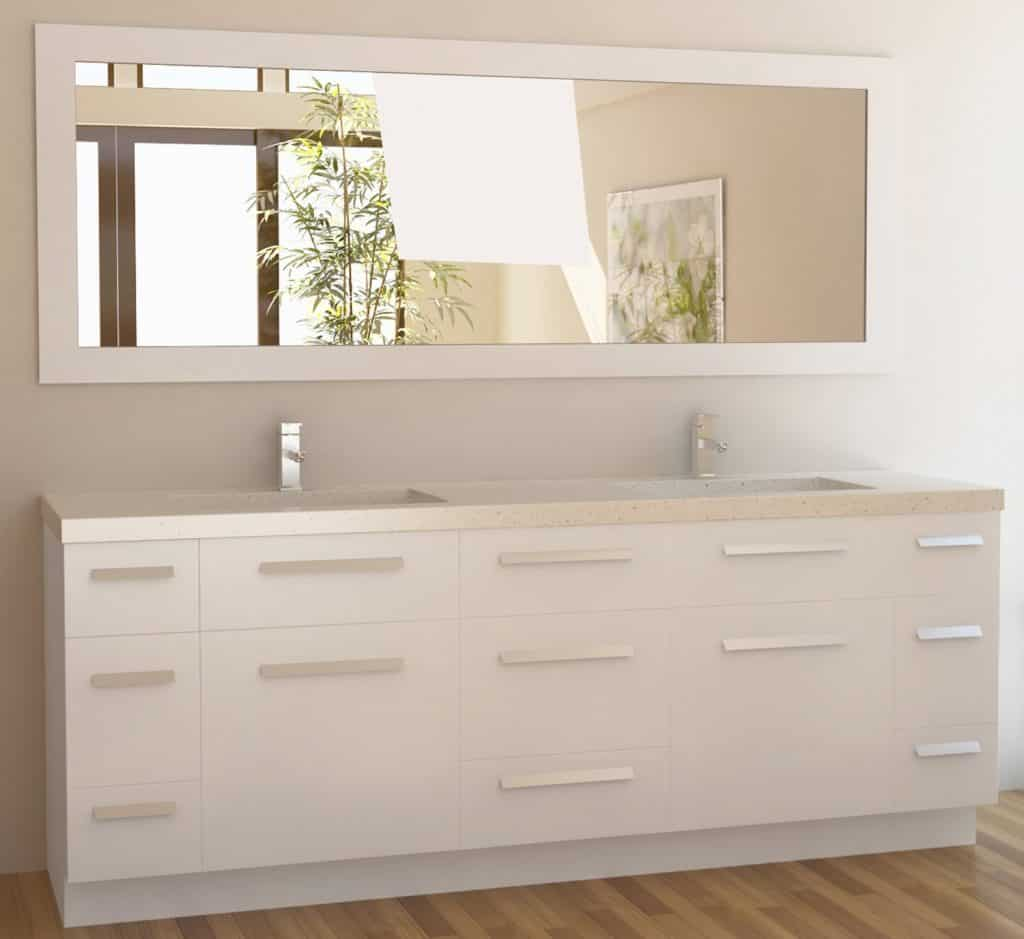 Bathroom sink cabinets white - Design Element Moscony Double Sink Vanity Set With White Finish