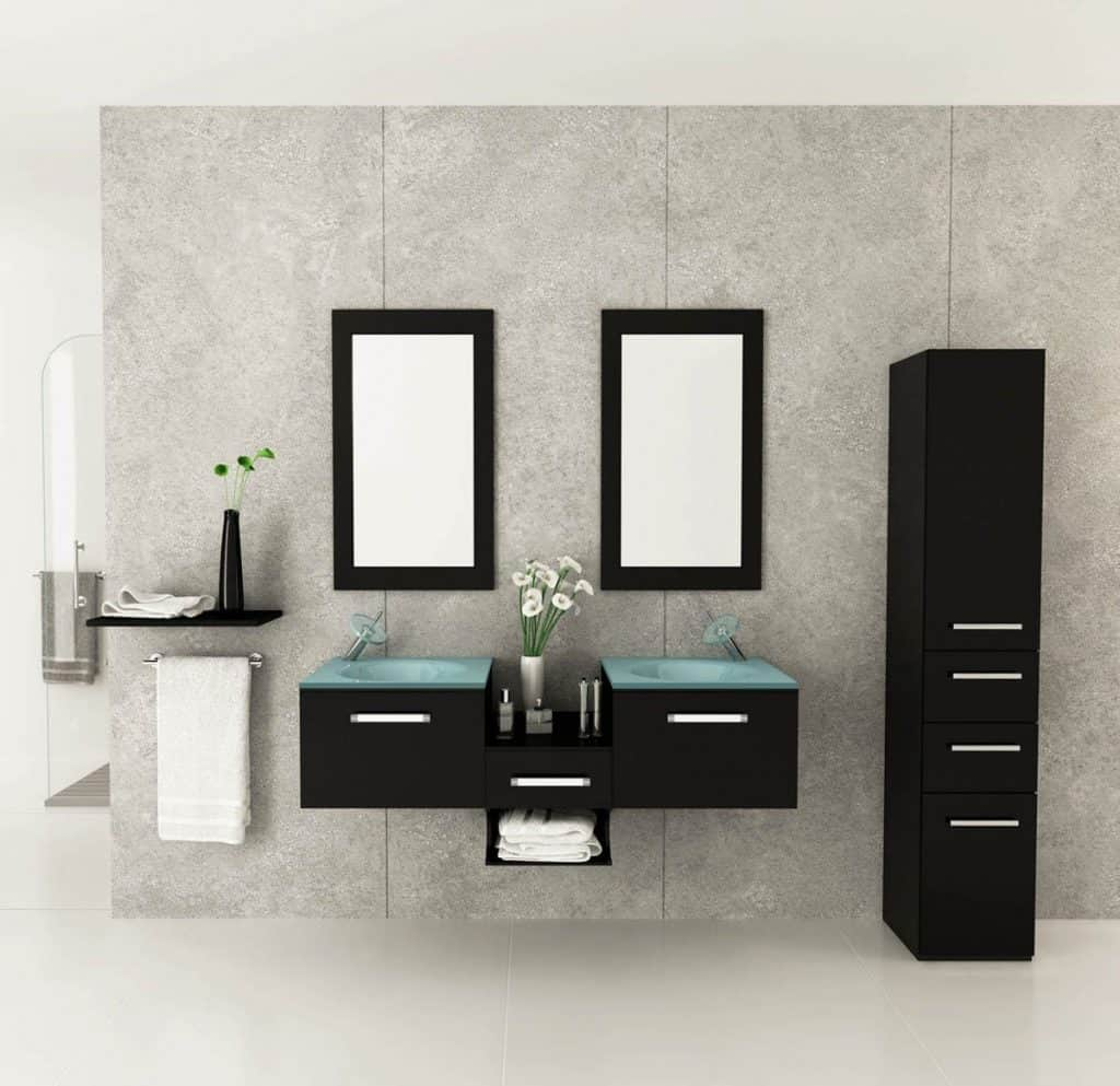 Modern bathroom decor accessories - Estrella Double Vessel Sink Modern Bathroom Vanity Furniture Set