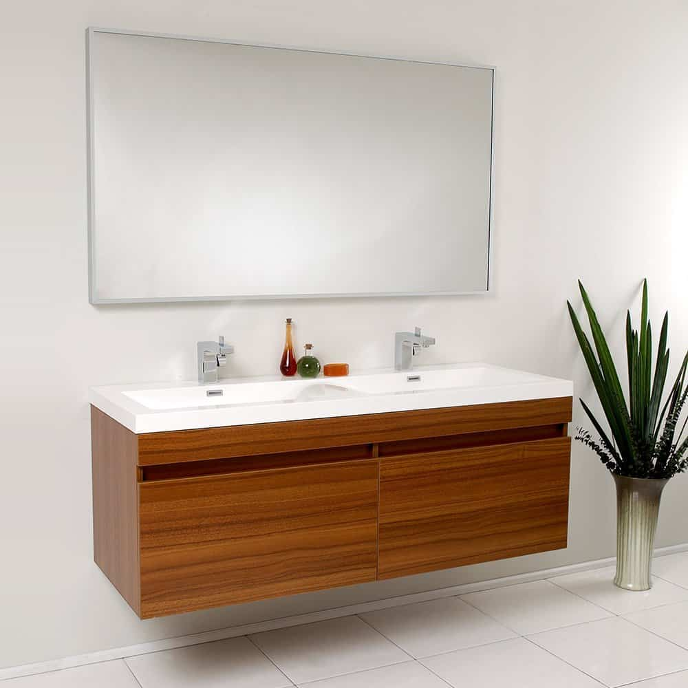 fresca fvn8040tk modern largo bathroom vanity with wavy double sinks - Bathroom Cabinets Sink
