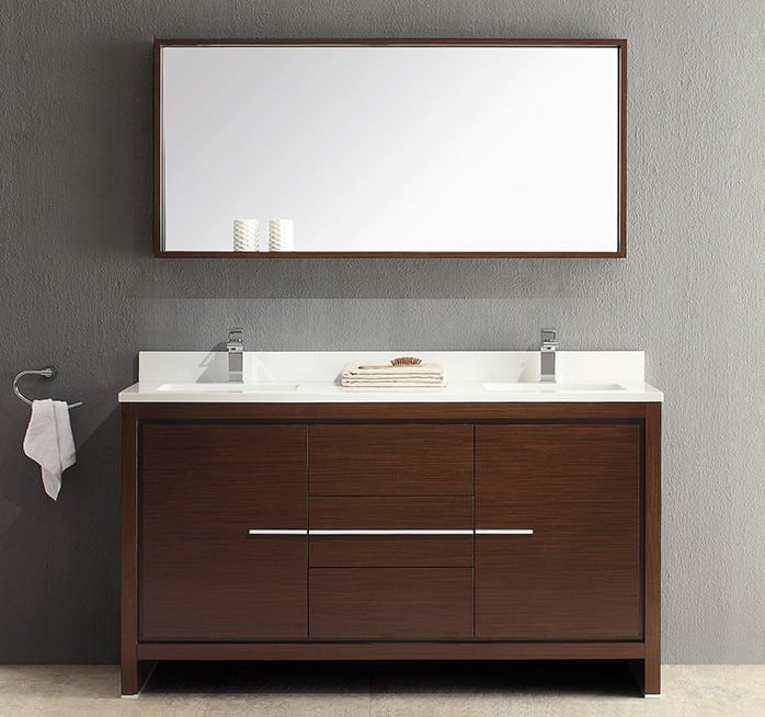 Fresca FVN8119WG Modern Allier Double Sink Bathroom Vanity with Mirror