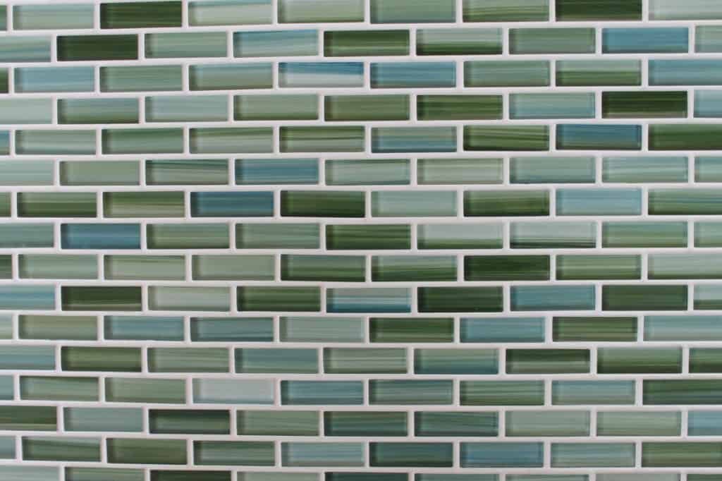 Rip Curl Green and Blue Hand Painted Glass Mosaic Subway Tiles