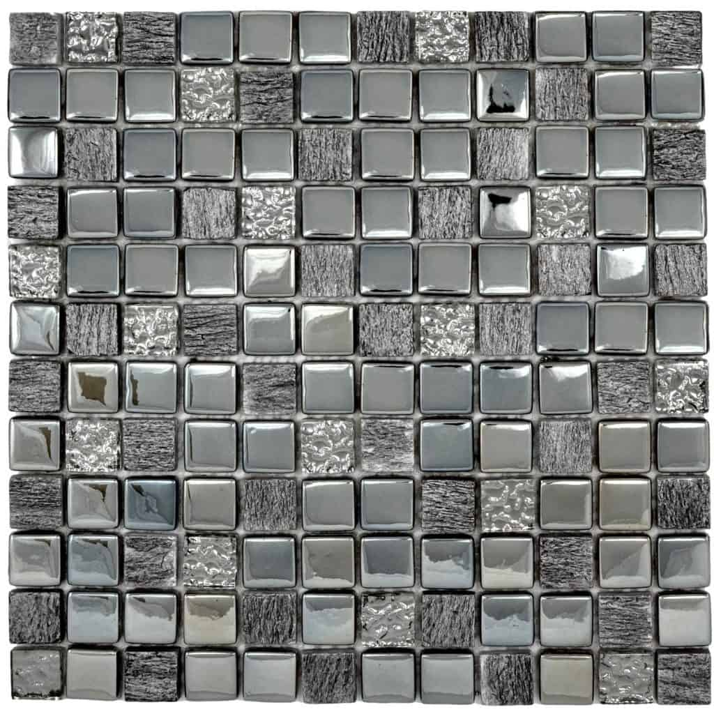 Stunning Contemporary Shimmering Silver Grey Tones Glass and Ceramic Mosaic Tiles