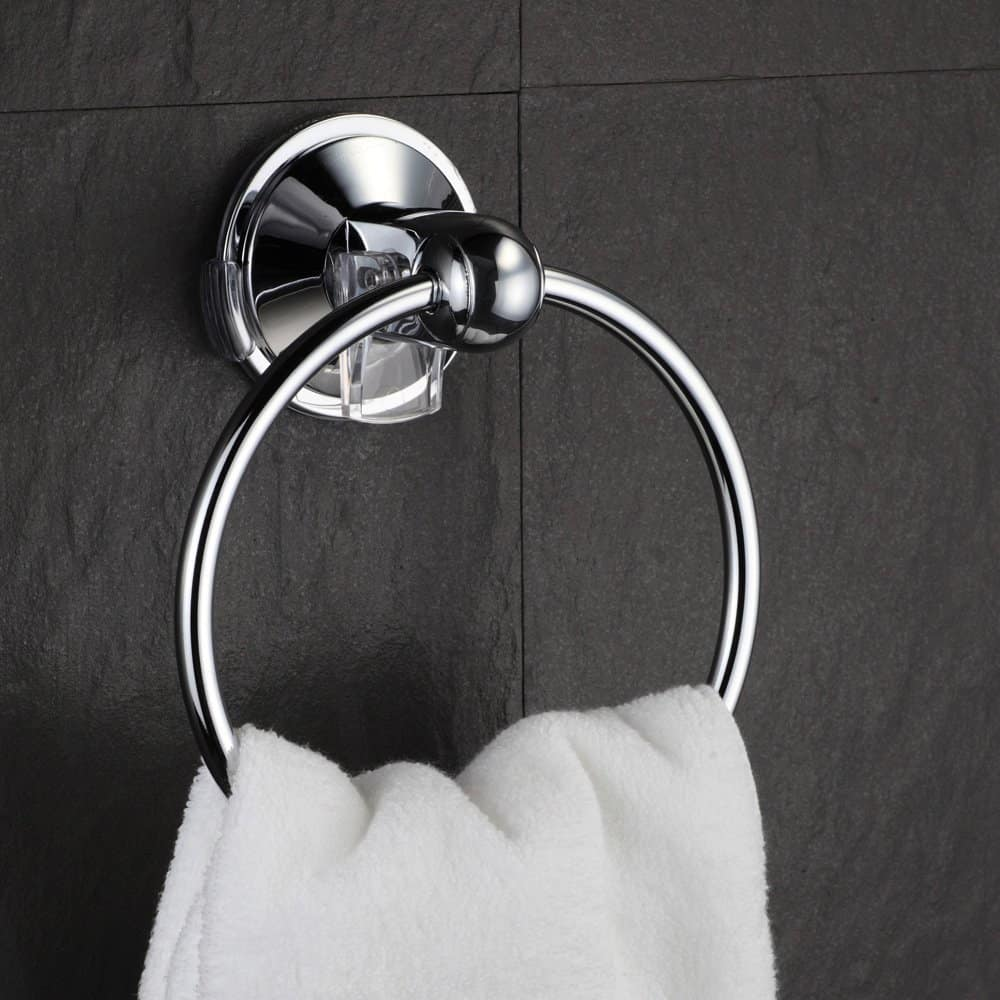HotelSpa® AquaCare series Insta-mount Towel Ring - Drill Free, Mounts instantly on all smooth or textured surfaces without tools, drilling and surface damage