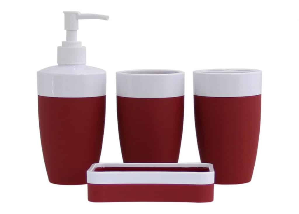 JustNile Plastic Rubber 4-Piece Bathroom Accessory Set - Modern Red