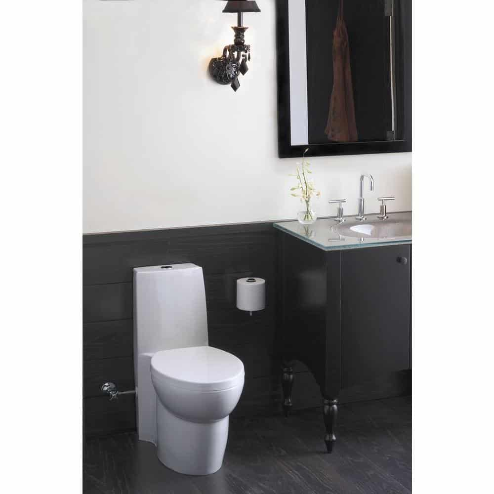KOHLER K-3564-96 Saile Elongated One-Piece Toilet with Dual Flush Technology, Biscuit
