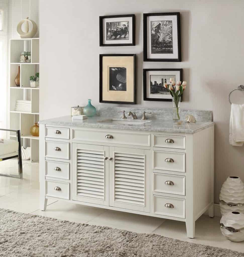 60 white bathroom vanity - Kalani 60 Inch White Bathroom Vanity