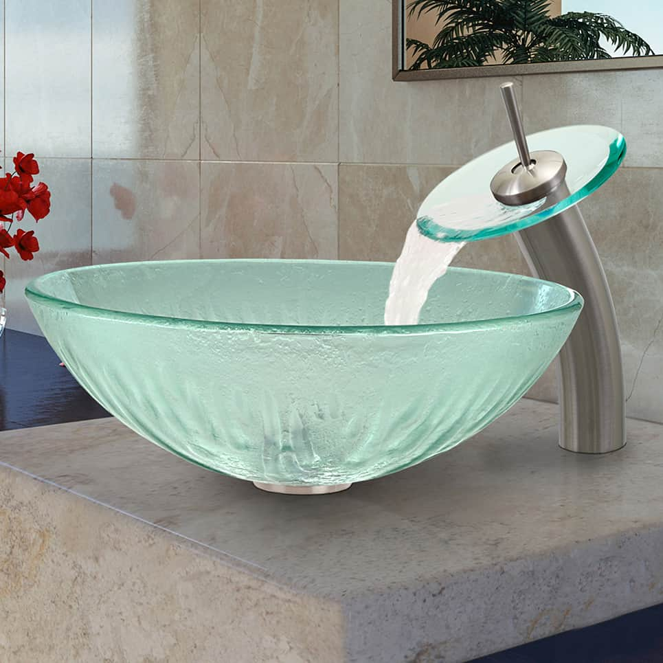 Kraus KGW-1700CH-CL Single Lever Vessel Glass Waterfall Bathroom Faucet Chrome with Clear Glass Disk