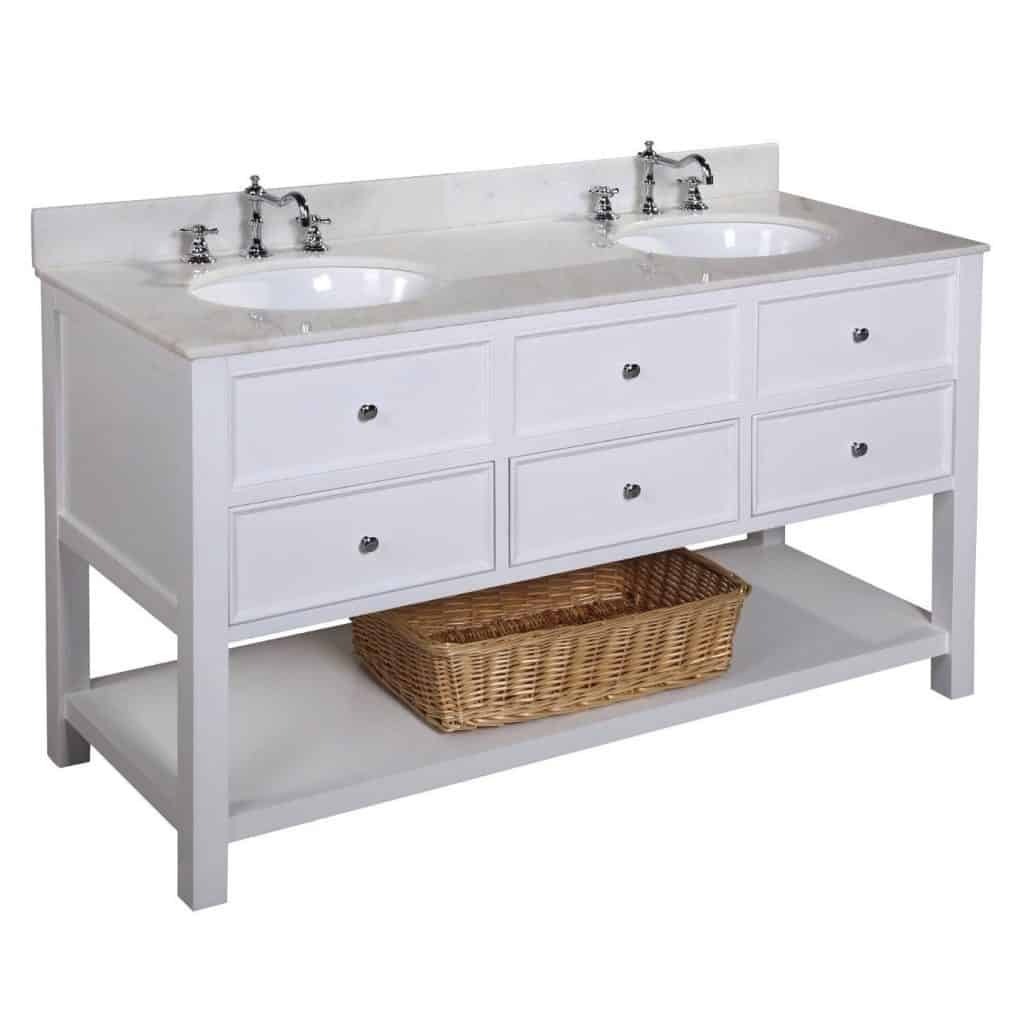New Yorker Double Sink Bathroom Vanity With Marble Countertop, Cabinet With  Soft Close Function And