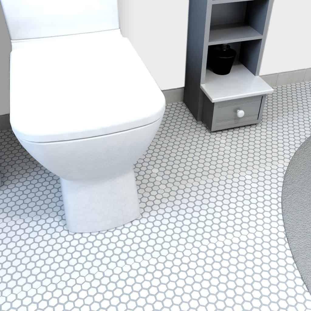 Retro Hexagon White 10 78 x 12 Inch Porcelain Floor & Wall Tile