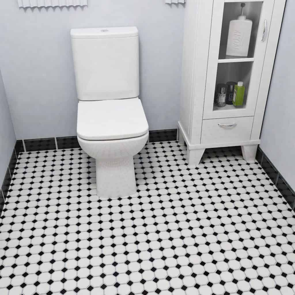 Retro Octagon Matte White with Glossy Black Dot 11 12 x 11 12 Inch Porcelain Floor & Wall Tile