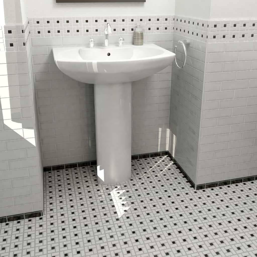 Retro Spiral White and Black 12 12 x 12 12 Inch Porcelain Floor & Wall Tile