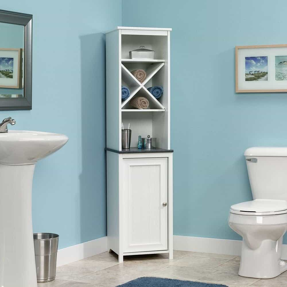Bathroom storage for towels - Sauder Linen Tower Bath Cabinet Soft White Finish