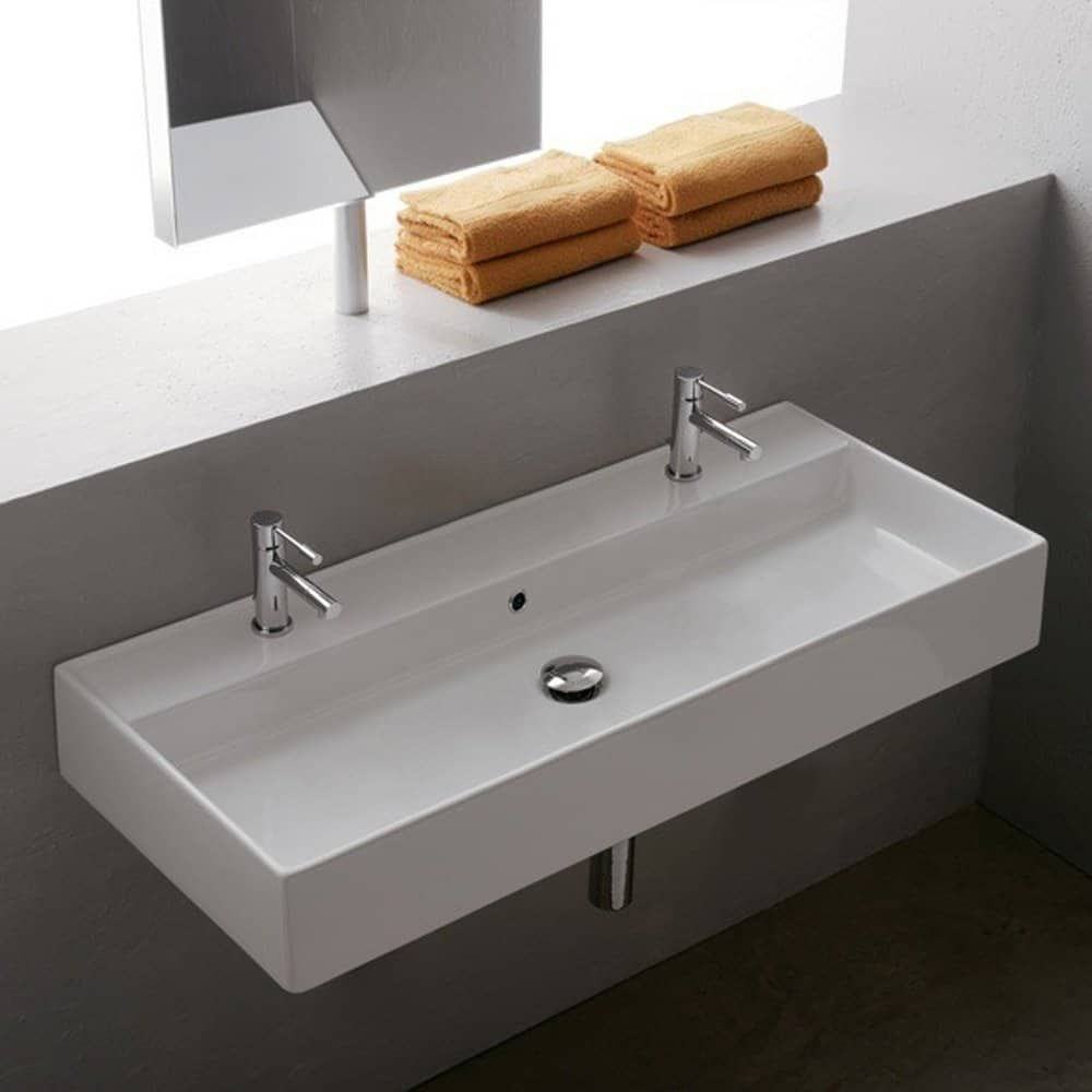 Scarabeo Scarabeo 8031R-100B-2Hole-637509879839 Luxury Wall Mounted Ceramic Sink, White