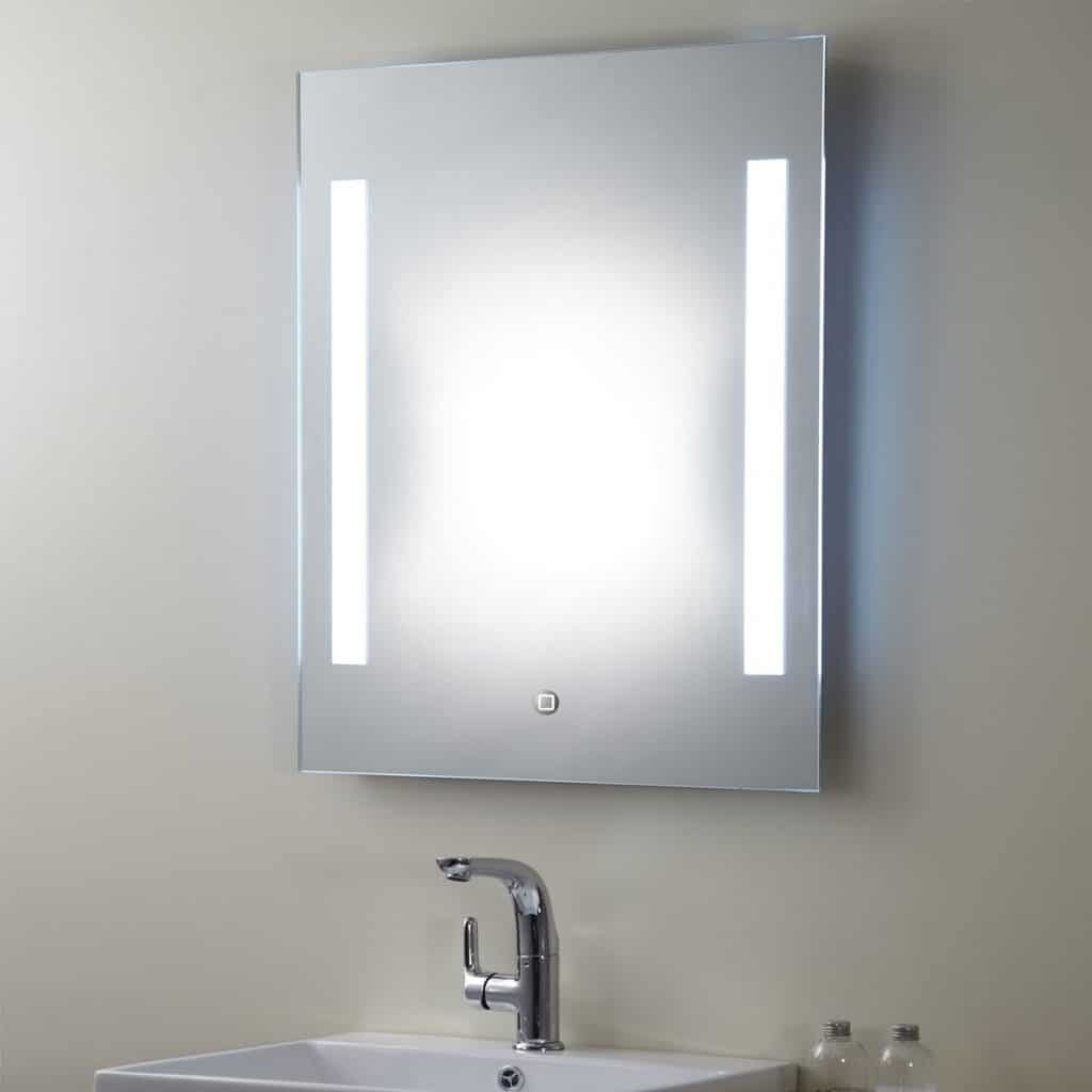 Vertical LED Bathroom Silvered Mirror with ONOFF
