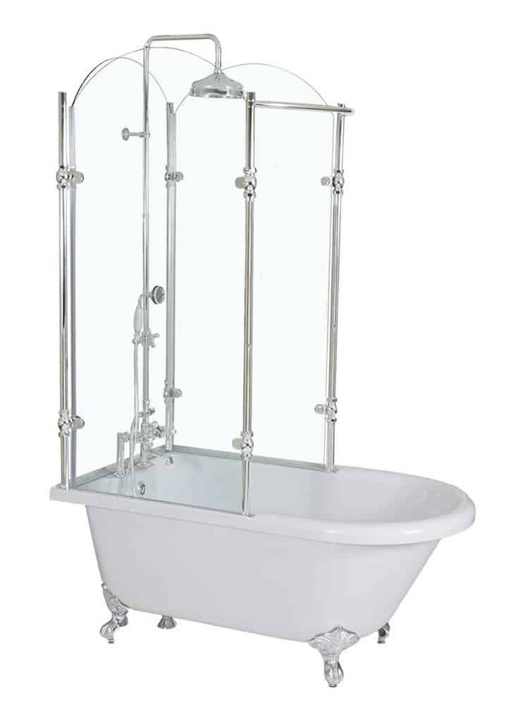 Vintage CoreAcryl Clawfoot Tub with Tempered Glass Shower Enclosure