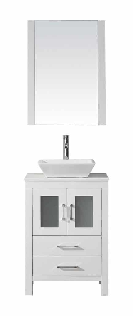 Virtu USA KS 70024 S WH Modern 24 Inch Single Sink Bathroom