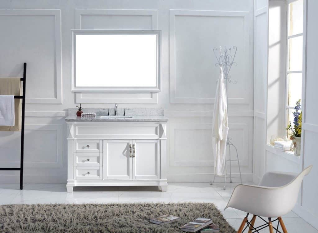 single white vanity with sink. Virtu USA MS 2648 WMSQ WH Transitional 48 Inch Single Sink Bathroom 200  Ideas Remodel Decor Pictures