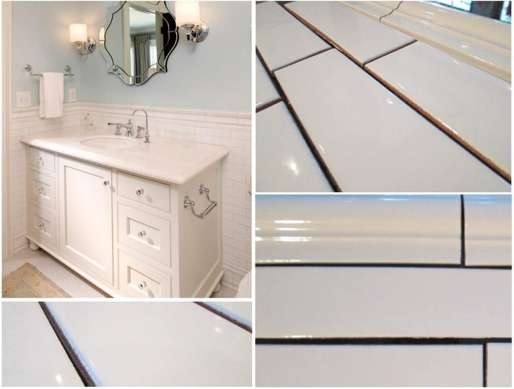 White Porcelain Subway Tile Gloss Finish