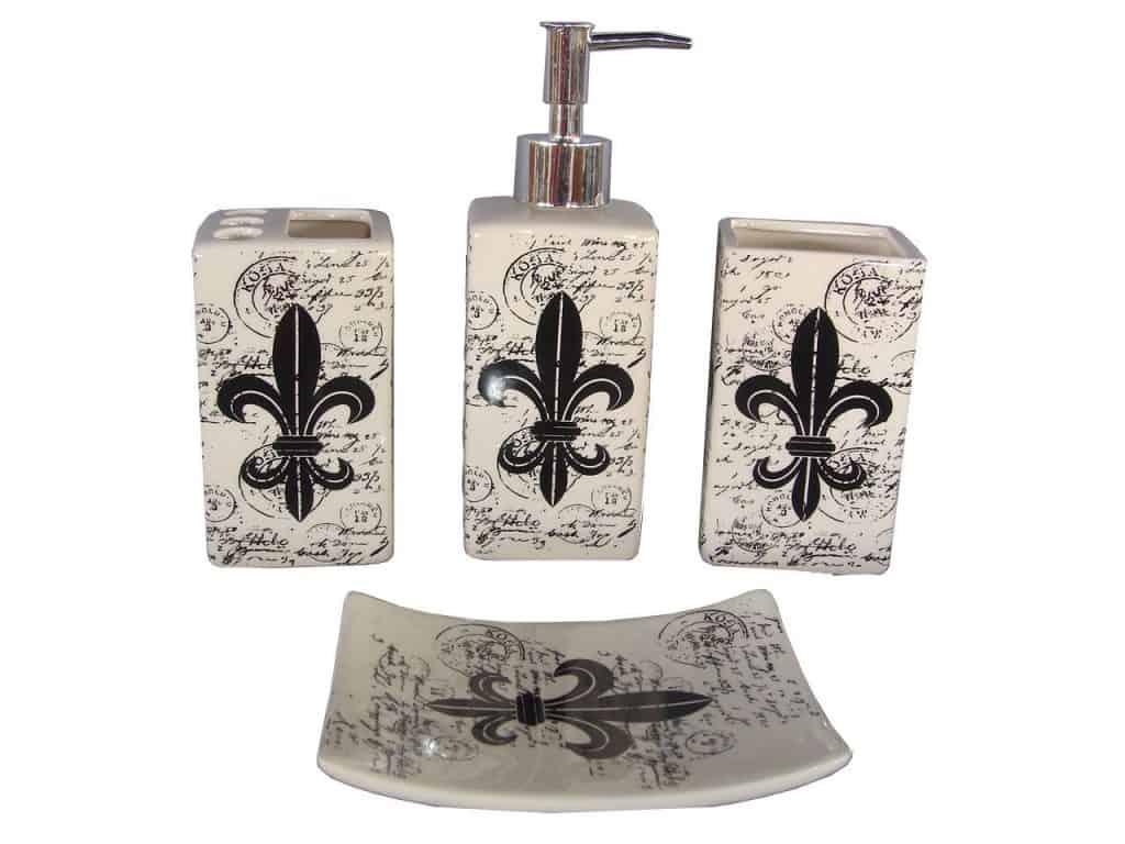 ndecor Home 4-Piece Ceramic Fleur De Lis Bath Set