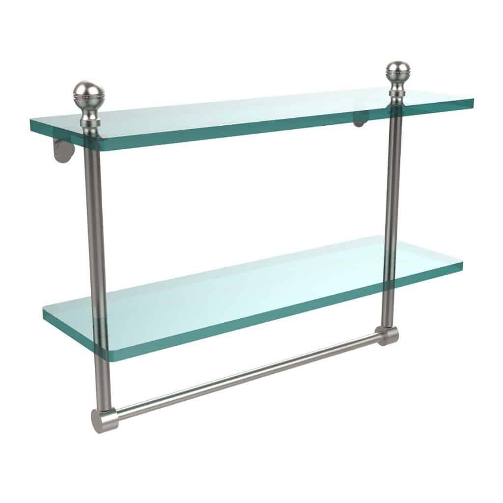 """Allied Brass 16"""" Double Shelf w/Towel Bar Satin Nickel"""