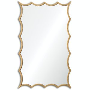 Darius Wavy Scalloped Wall Mirror with Hand Forged Antiqued Gold Leaf Frame